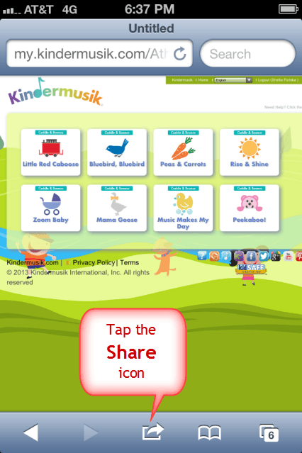 Create iPhone Shortcut for My.Kindermusik.com