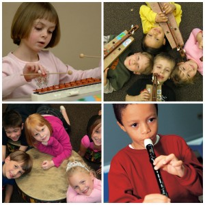 Young Child students play glockenspiel dulcimer drum and recorder