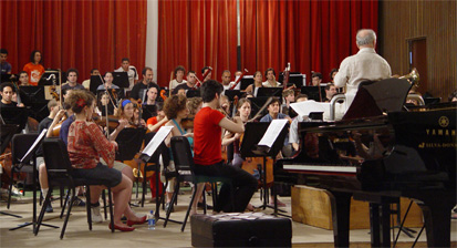 Barenboim rehearses the West-Eastern Divan Orchestra.