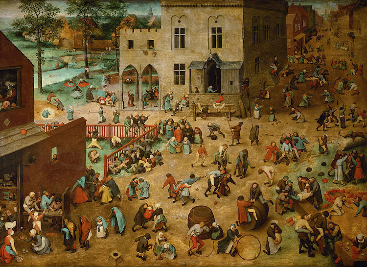 A painting from 1560 by Pieter Bruegel the Elder depicting children playing. The idea is timeless.